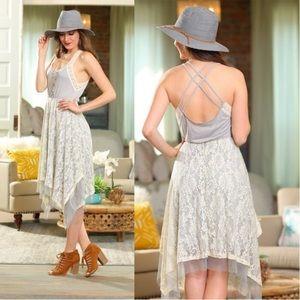 Gray and Ivory Crochet Lace Cross Dress